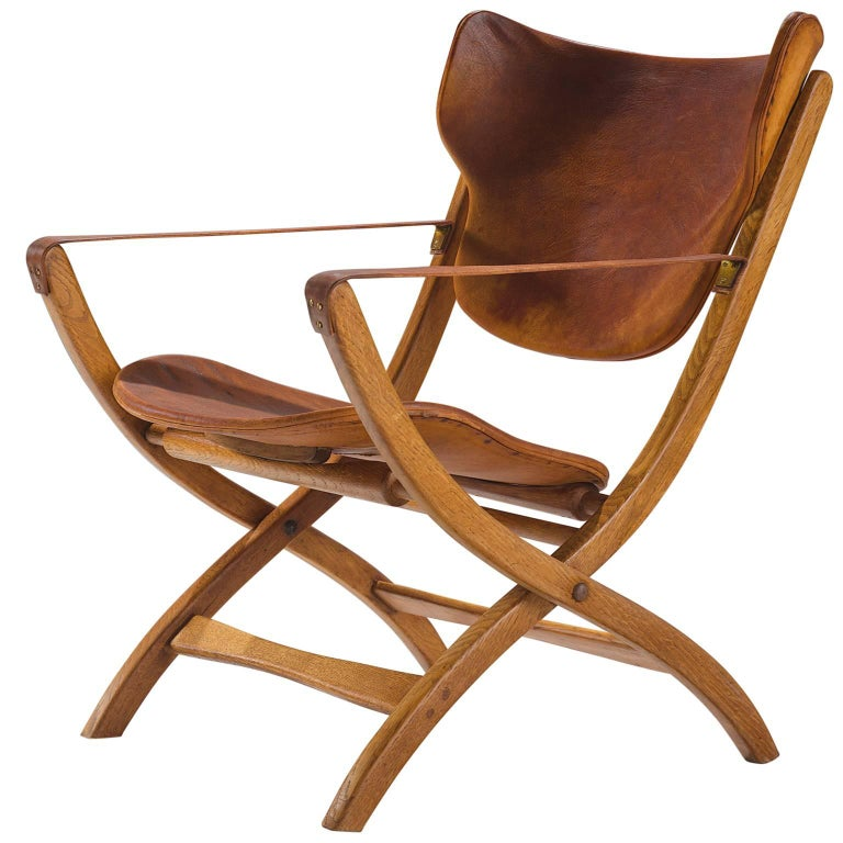 Poul Hundevad 'Egyptian' Chair in Cognac Leather For Sale