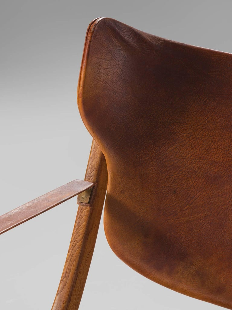 Mid-20th Century Poul Hundevad 'Egyptian' Chair in Cognac Leather For Sale