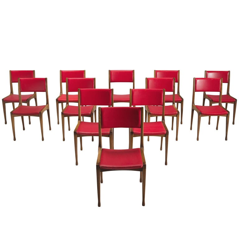 Carlo de Carli Set of 12 Dining Room Chairs in Walnut for Cassina