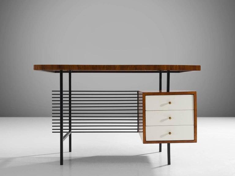 Mid-Century Modern Brazilian Desk by Geraldo de Barros in Rosewood and Black Steel For Sale