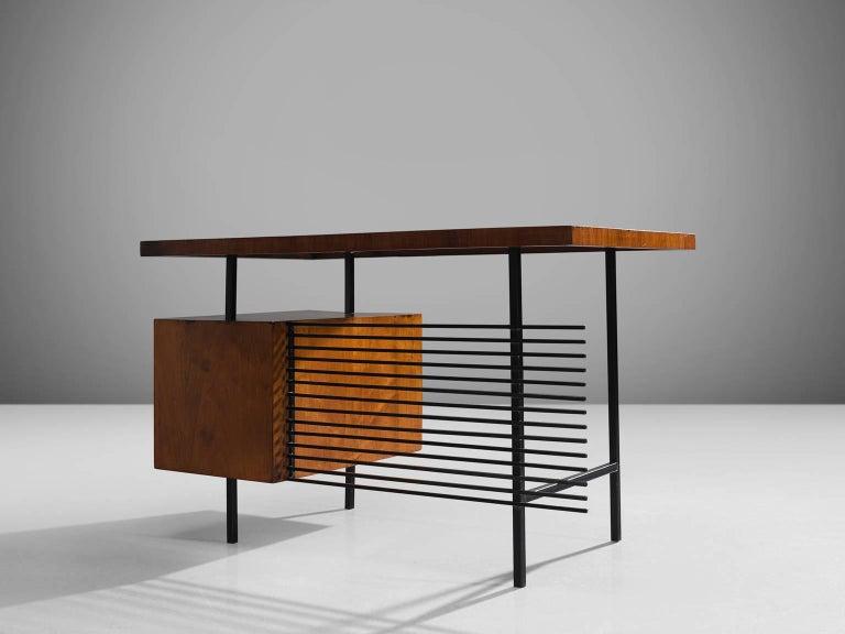 Brazilian Desk by Geraldo de Barros in Rosewood and Black Steel In Good Condition For Sale In Waalwijk, NL