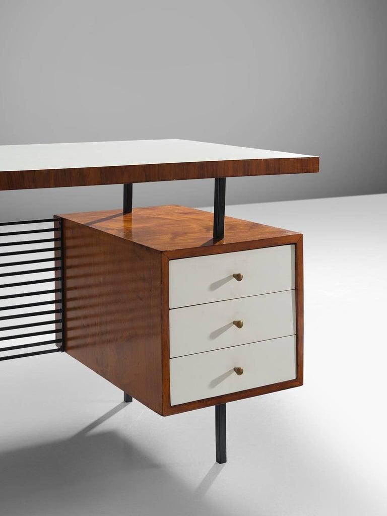 Mid-20th Century Brazilian Desk by Geraldo de Barros in Rosewood and Black Steel For Sale
