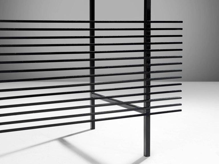 Brazilian Desk by Geraldo de Barros in Rosewood and Black Steel For Sale 2