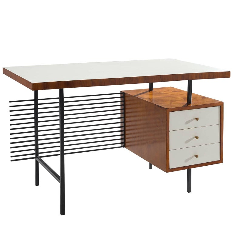 Brazilian Desk by Geraldo de Barros in Rosewood and Black Steel