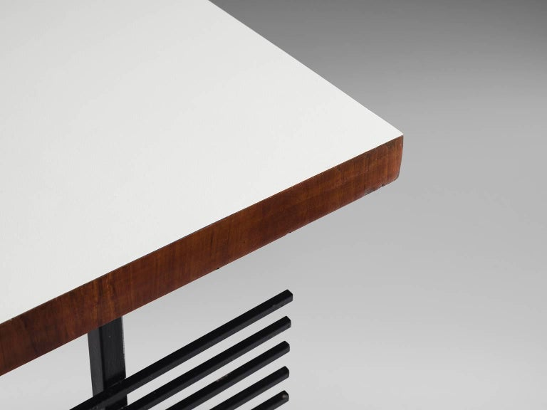 Brazilian Desk by Geraldo de Barros in Rosewood and Black Steel For Sale 4