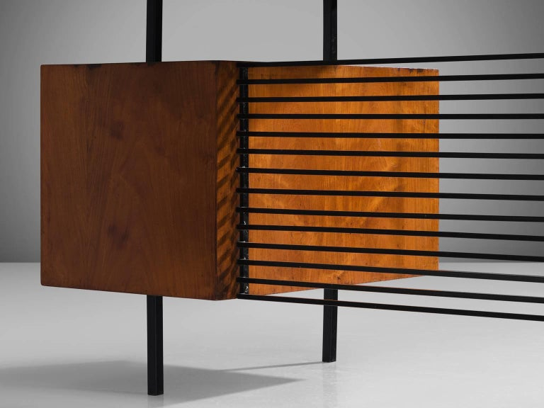 Brazilian Desk by Geraldo de Barros in Rosewood and Black Steel For Sale 1