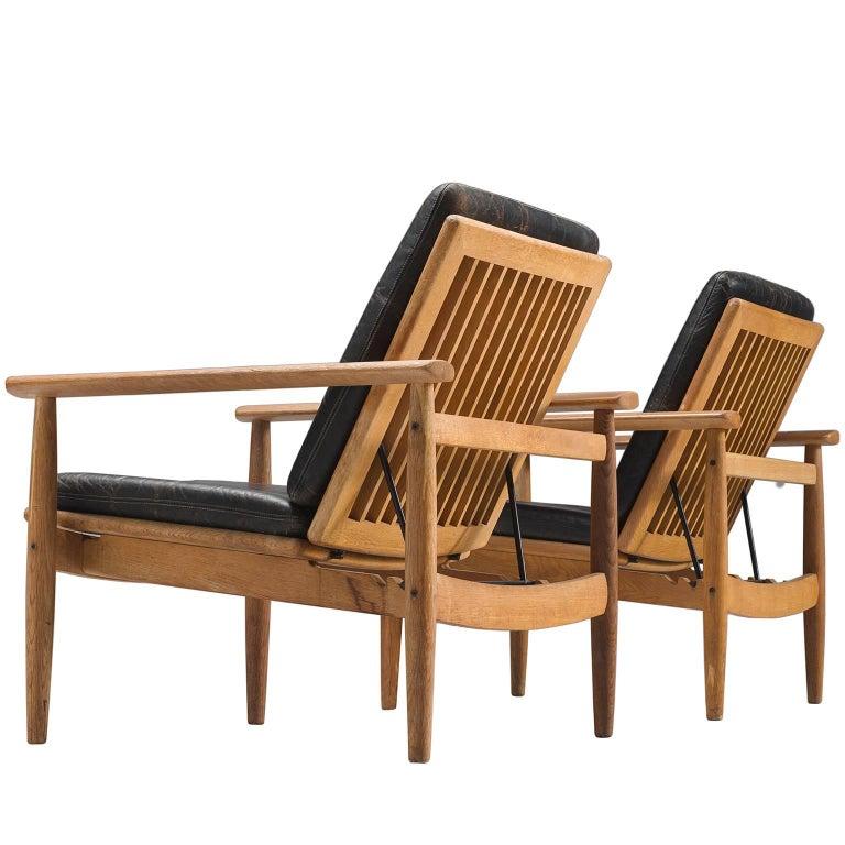 Johan Hagen Oak Armchairs in Original Leather