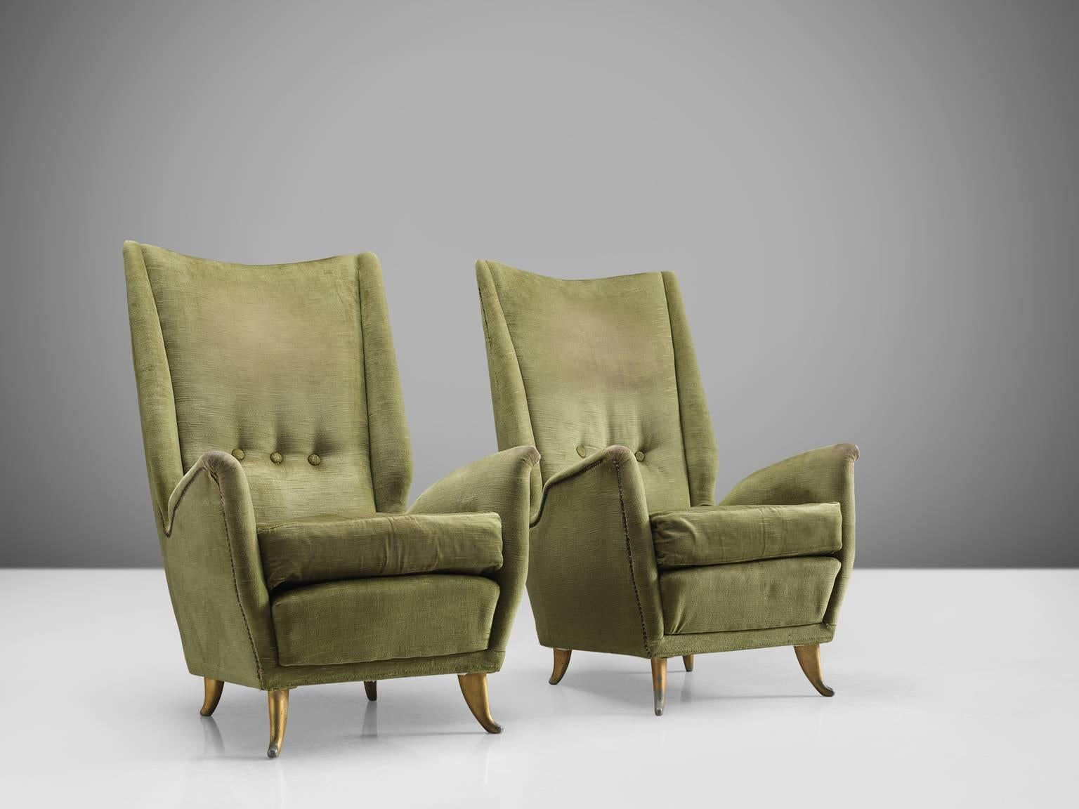 ISA, Pair Of Lounge Chairs, In Fabric And Wood, For Italy, 1950s