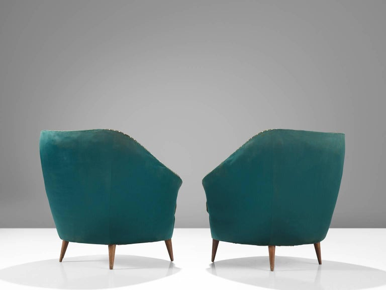 Mid-Century Modern Italian Reupholstered Quilted Armchairs, 1950s For Sale