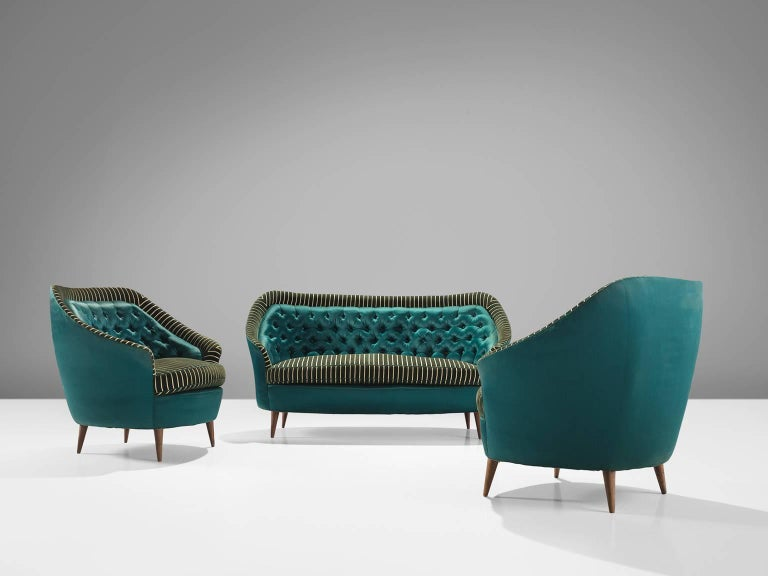 Italian Reupholstered Quilted Armchairs, 1950s For Sale 1