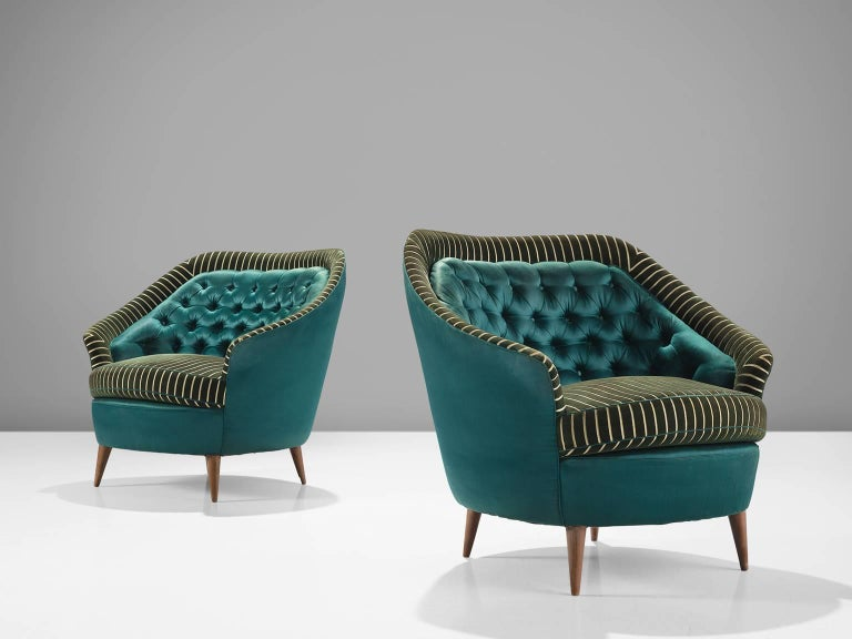 Italian sofa, armchairs, green striped velvet and turquoise satin like fabric, wood, Italy, 1950s.  This set of armchairs is an iconic example of Italian design from the 1950s. The chairs are on the one hand simplistic, with elegant, subtle lines