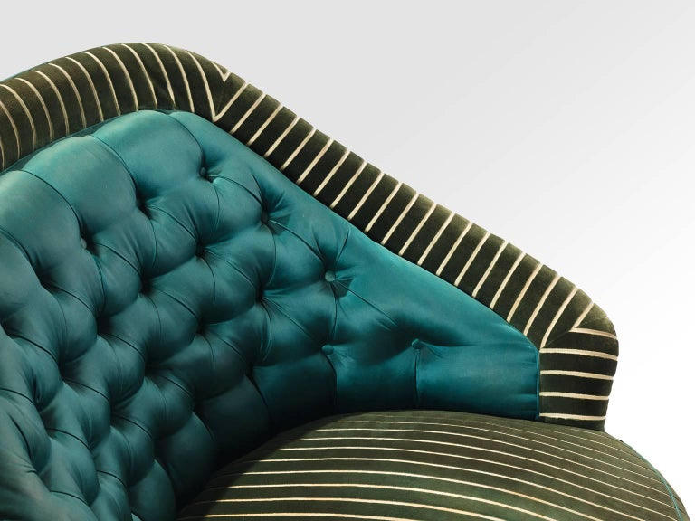 Fabric Italian Reupholstered Quilted Armchairs, 1950s For Sale