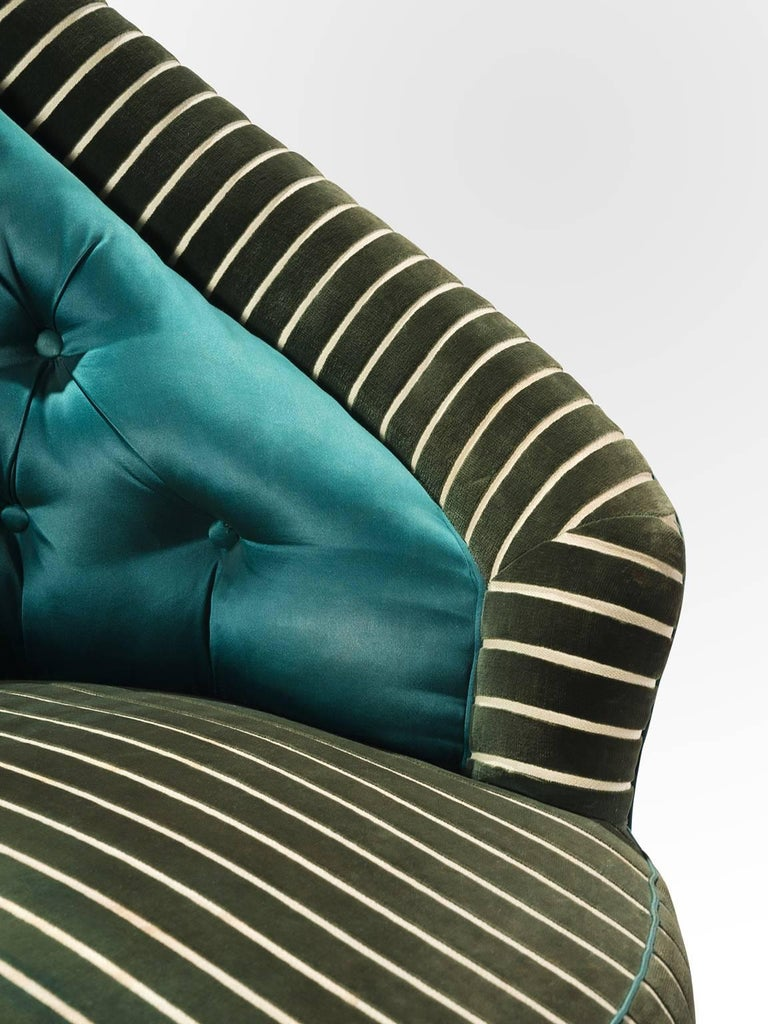 Mid-20th Century Italian Reupholstered Quilted Armchairs, 1950s For Sale