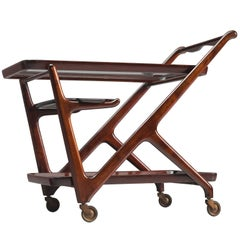 Cesare Lacca Trolley in Wood and Glass, 1950s