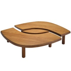 Large Pierre Chapo Coffee Table 'L'oeuil' in Solid Elm
