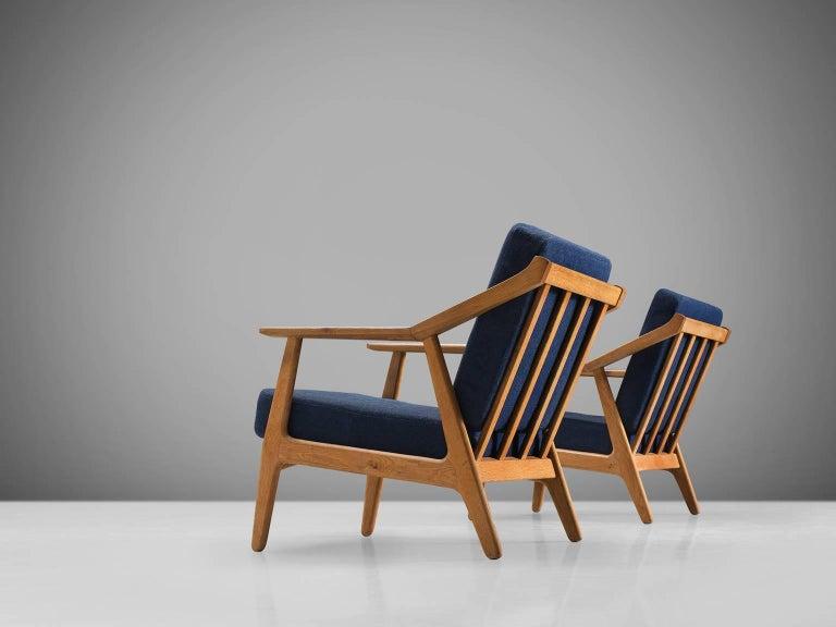 Solid Oak Danish Midcentury Armchairs In Good Condition For Sale In Waalwijk, NL