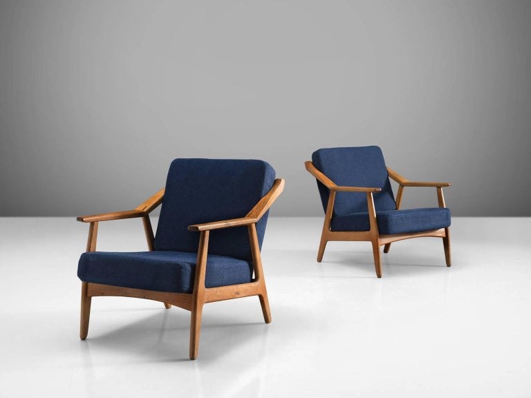 French Solid Oak Danish Midcentury Armchairs For Sale