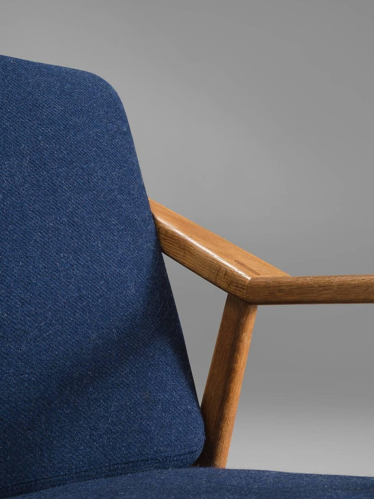 Fabric Solid Oak Danish Midcentury Armchairs For Sale