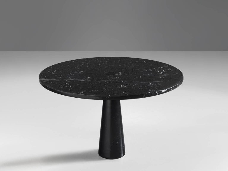 Angelo Mangiarotti  dining table black marble Italy 1970s This architectural Black Marble Postmodern Centre Table For Sale