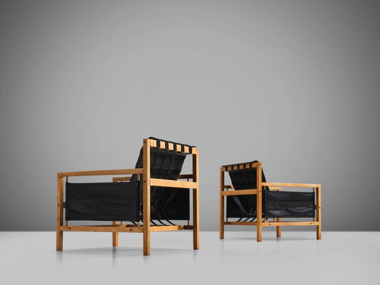 Mid-20th Century Poul Hundevad Leather Lounge Chairs by Mogens Plum For Sale