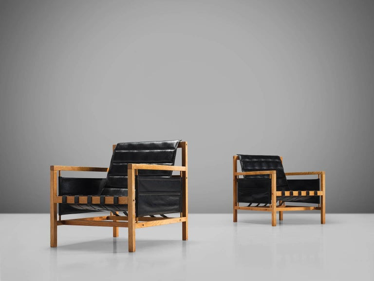Danish Poul Hundevad Leather Lounge Chairs by Mogens Plum For Sale