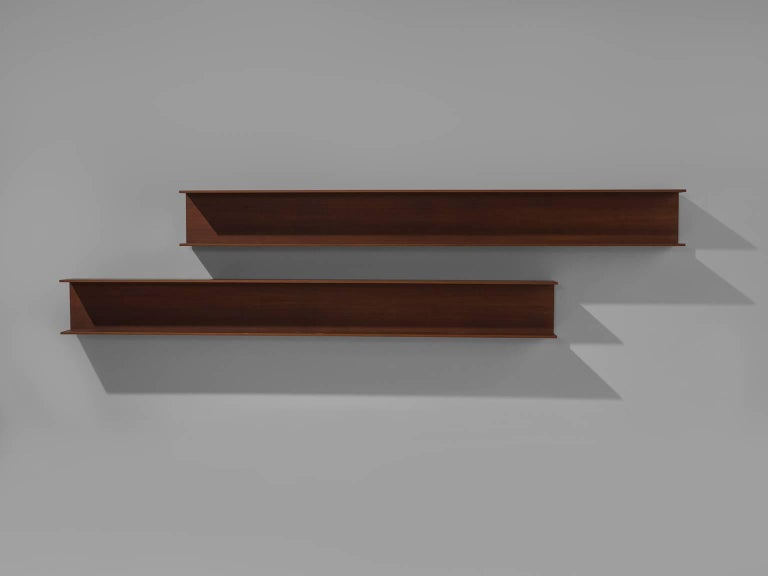 Mid-Century Modern Walter Wirz for Wilhelm Renz Solid Teak Wall Shelves For Sale