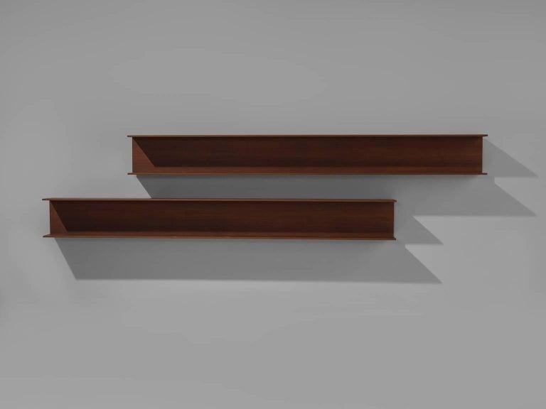 Mid-Century Modern Walter Wirz for Wilhelm Renz Solid Teak Wall Shelves For Sale