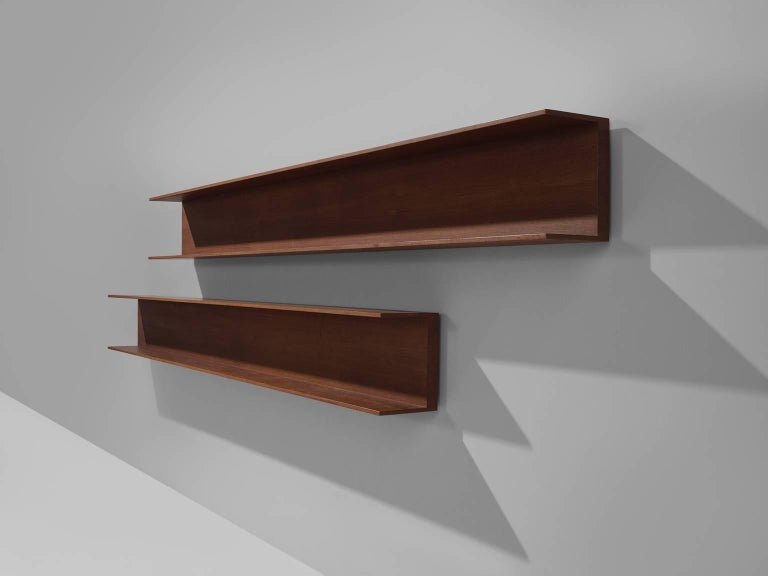 German Walter Wirz for Wilhelm Renz Solid Teak Wall Shelves For Sale