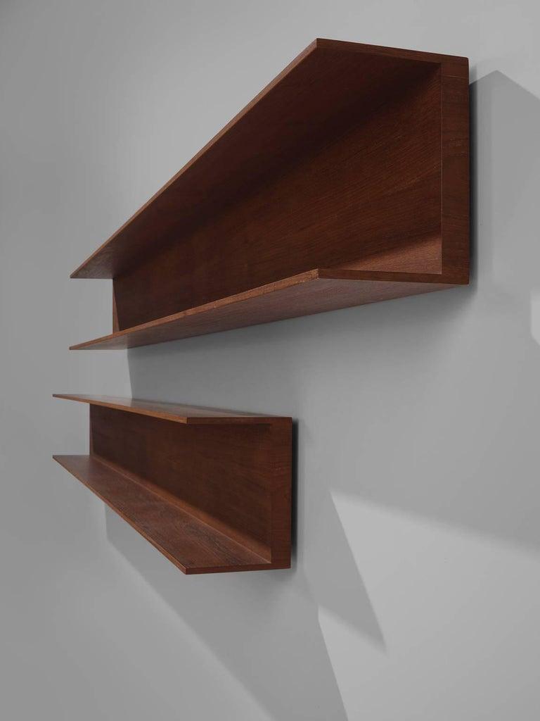 Walter Wirz for Wilhelm Renz Solid Teak Wall Shelves In Excellent Condition For Sale In Waalwijk, NL