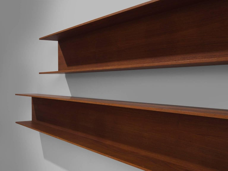 Mid-20th Century Walter Wirz for Wilhelm Renz Solid Teak Wall Shelves For Sale