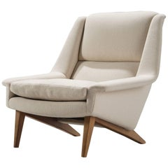 Danish Lounge Chair in Fabric and Teak