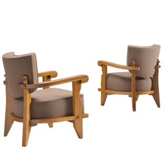 Guillerme & Chambron Carved Pair of Oak Club Chairs, 1950s