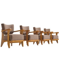 Guillerme & Chambron Carved Set of Four Oak Club Chairs, 1950s
