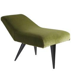 Italian Side Stool in Olive Green Velvet