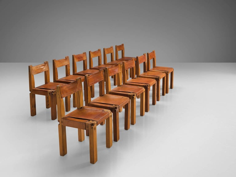 French Pierre Chapo 12 Dining Chairs in Solid Elm and Cognac Leather For Sale