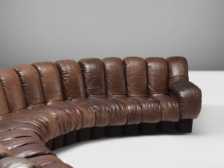 De Sede DS 600 Non Stop 22 Section Sofa in Brown Leather For Sale 3