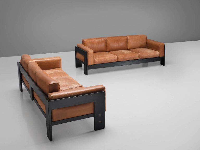 Tobia Scarpa for Knoll, 'Bastiano' sofas, leather, wood, Italy, design 1962, 1990 production.
