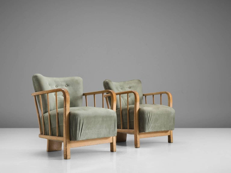 Mid-Century Modern Midcentury Set of Two Sculptural Lounge Chairs For Sale