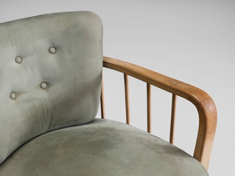 Fabric Midcentury Set of Two Sculptural Lounge Chairs For Sale