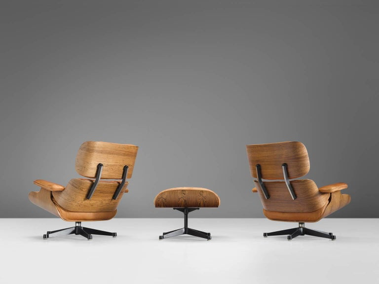 Mid-Century Modern Eames for Herman Miller Original Leather Rosewood Chairs and Ottoman