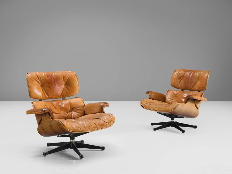 Eames for Herman Miller Original Leather Rosewood Chairs and Ottoman In Excellent Condition In Waalwijk, NL