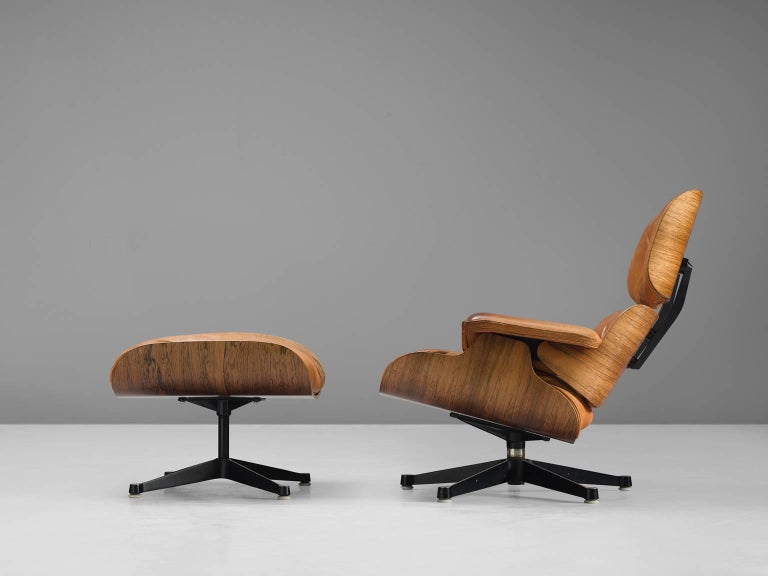 Eames for Herman Miller Original Leather Rosewood Chairs and Ottoman 1