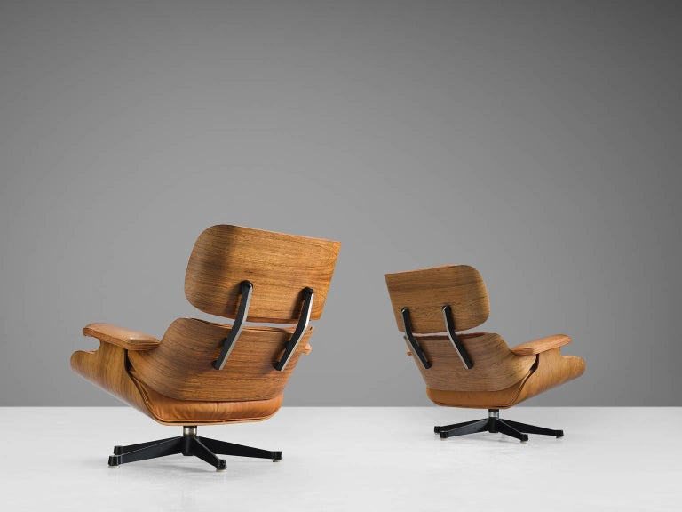 Mid-20th Century Eames for Herman Miller Original Leather Rosewood Chairs and Ottoman