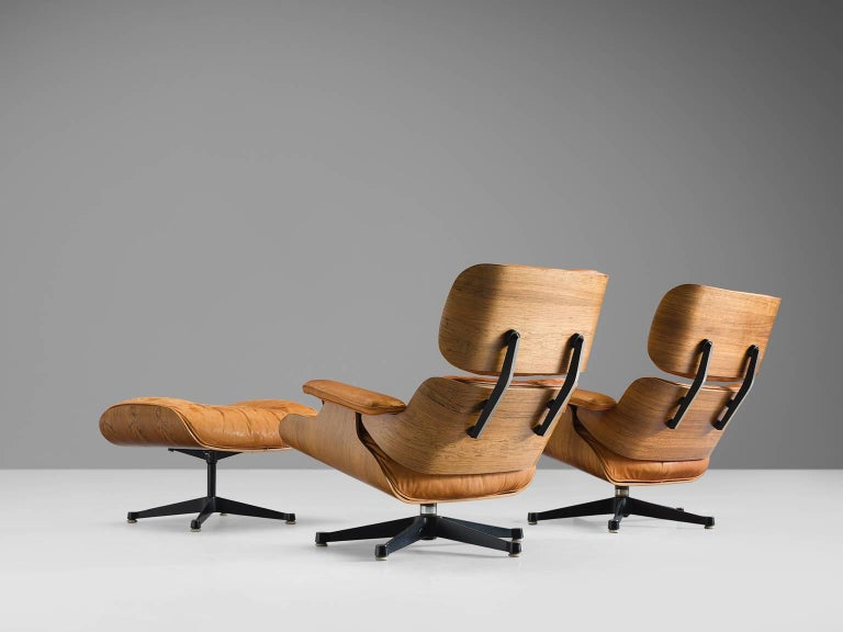 American Eames for Herman Miller Original Leather Rosewood Chairs and Ottoman