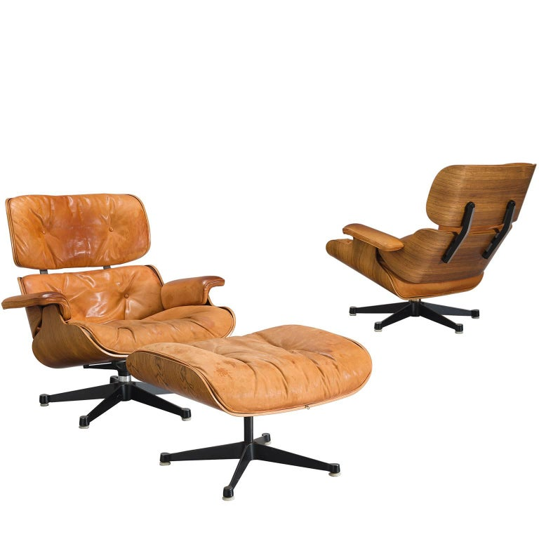Eames for Herman Miller Original Leather Rosewood Chairs and Ottoman