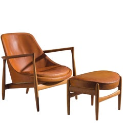 Ib Kofod-Larsen 'Elizabeth' Chair in Original Cognac Leather with Ottoman