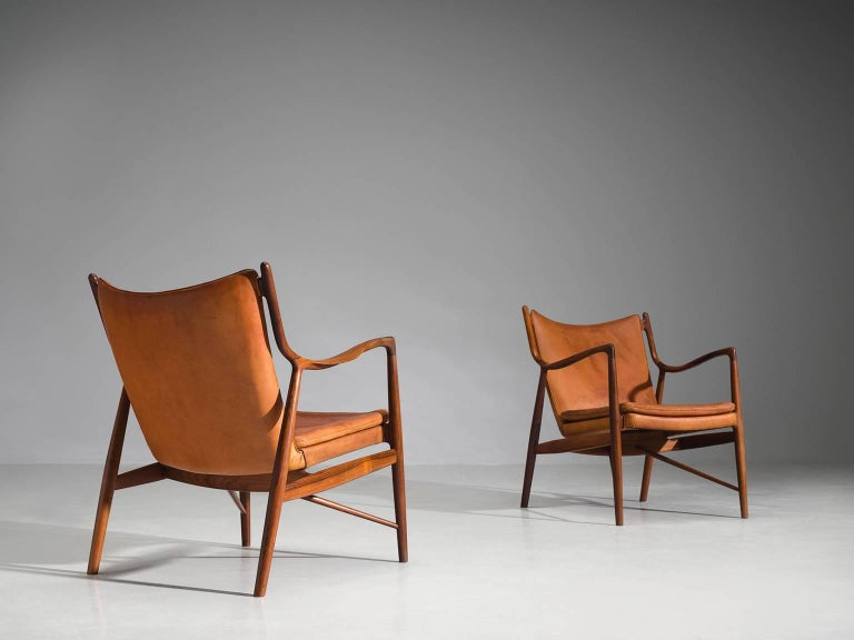 Danish Finn Juhl for Niels Vodder Pair of NV45 in Original Cognac Leather For Sale