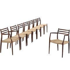 Niels O. Moller Set of Eight Dining Chairs in Rosewood and Cane Upholstery