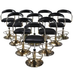 Set of Ten Black Leatherette Swivel Barstools