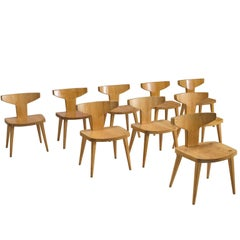 Jacob Kielland-Brandt Set of Nine Dining Chairs